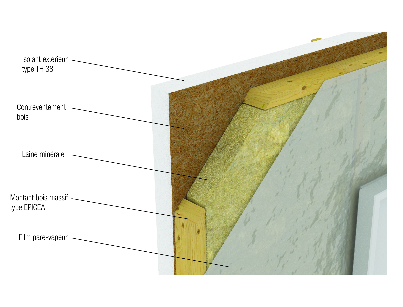 Le mur ossature bois double isolation Natilia