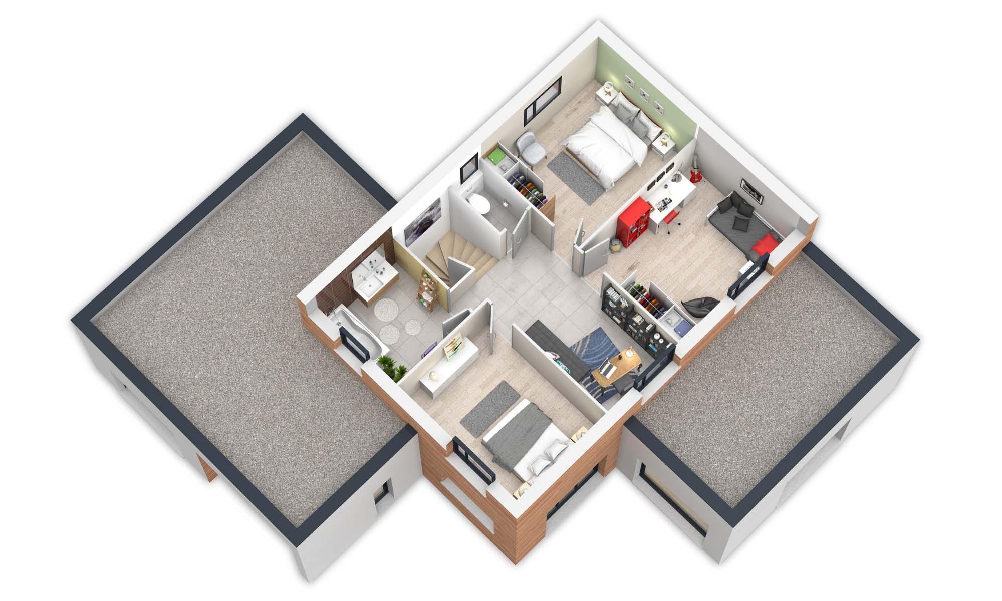 plan etage maisons BEPOS Natilia