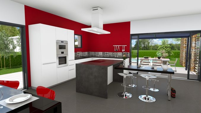 Espace cuisine lumineux, ouvert sur séjour et sur l'extérieur en double exposition