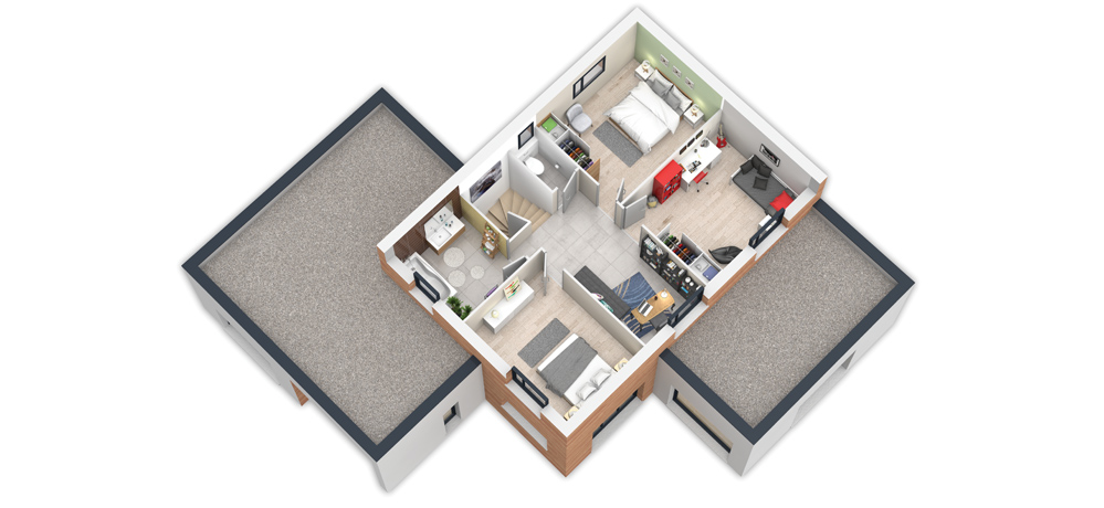 Exemple Plan d'étage pour la maison à ossature bois Natigreen