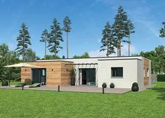 plan de maison ossature bois a toit plat