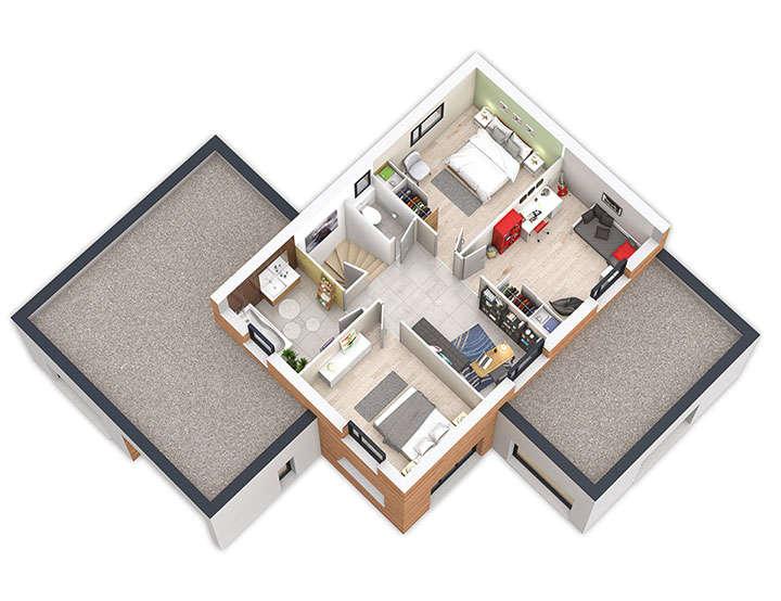 maison ossature bois plan natigreen bepos etage natilia