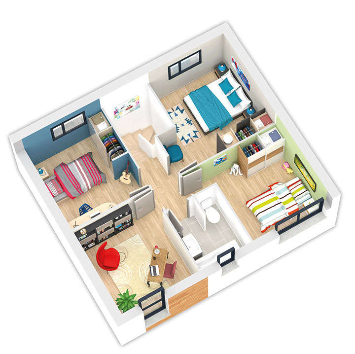 maison ossature bois plan natiline etage natilia 4
