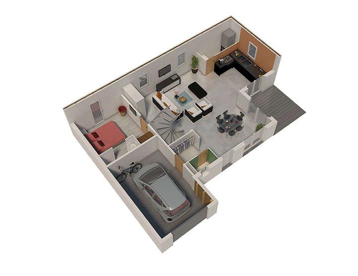 maison ossature bois plan nativae rdc natilia