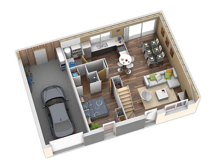 maison ossature bois plan nativio rdc natilia